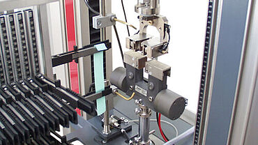 Automated tensile test on films with the roboTest F robotic testing system